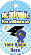 Academic Excellence Brag Tag - Blue Dots