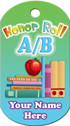 A/B Honor Roll Brag Tag - Apple & Books