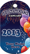Perfect Attendance - January Brag Tag - Balloons