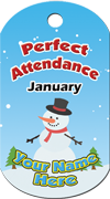 Perfect Attendance - January Brag Tag - Snowman