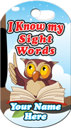 I Know My Sight Words Brag Tag - Owl with book