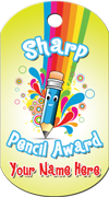 Sharp Pencil Award Brag Tag - Pencil with rainbow