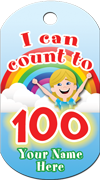 I Can Count to 100 Brag Tag - Kid and rainbow