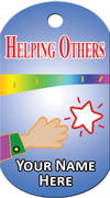 Helping Others Brag Tag - star and hand