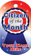 Citizen of the Month Brag Tag - red, white and blue award