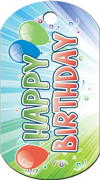 Happy Birthday Balloons Brag Tag - Balloons and blue stripes
