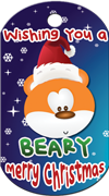 Wishing you a beary merry christmas Brag Tag - bear with santa