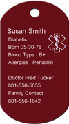 Info Medical Red Dog Tag