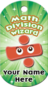 Math Division Wizard Brag Tag - division sign with eyes
