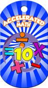Accelerated Math 10 Points Brag Tag