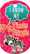 5's Times Tables Brag Tag