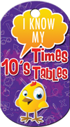 10's Times Tables Brag Tag