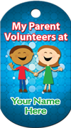 My Parent Volunteers at… Brag Tag - two kids holding hands
